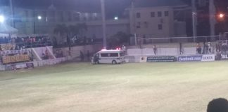 Ambulance at football field