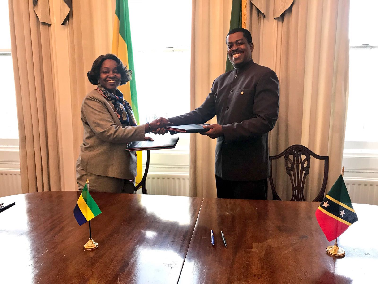 St kitts and nevis gabonese republic establish diplomatic ambassador of gabon he aichatou s aoudou and high commissioner of st kitts and nevis to the united kingdom dr kevin issac sciox Gallery