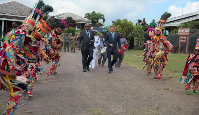 His Excellency Sir Tapley Seaton and Prince Harry Arrive at Brimstone Hill to dancing masqueraders