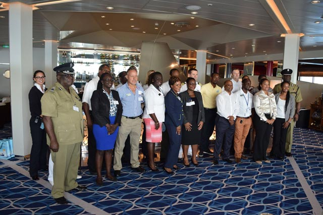 Invited officials from St. Kitts on board MS Mein Schiff with crew