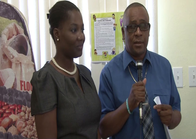 (From left) Latoya Matthew-Duncan Nutrition Surveillance Officer and Daryll Lloyd Acting Deputy Chief Education Officer