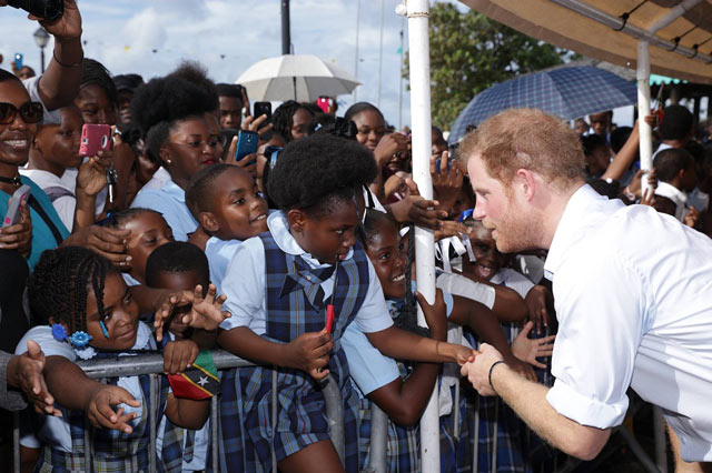 Prince Harry Greeting Children in Nevis