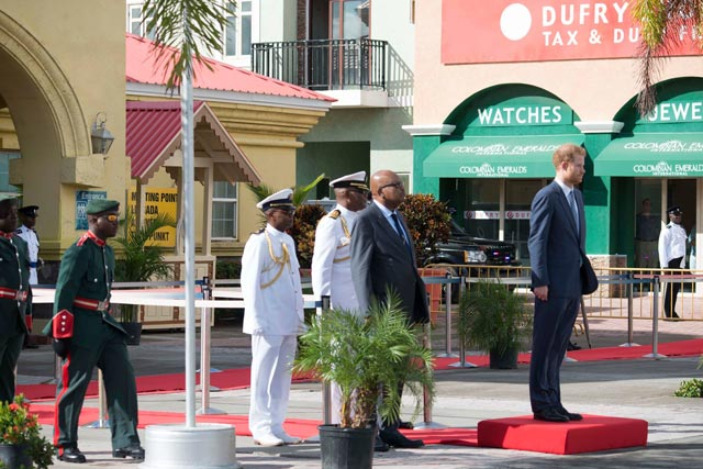 Prince Harry on Saluting Dais at Port Zante with Governor General Sir Tapley (on Prince Harry's right)
