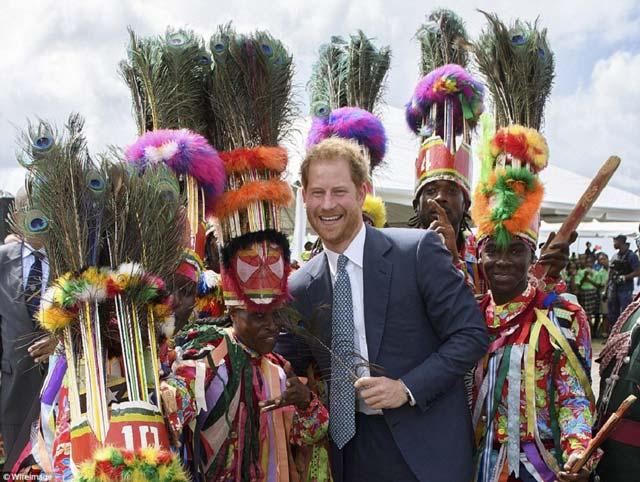 Prince Harry with Masquerades at Brimstone Hill