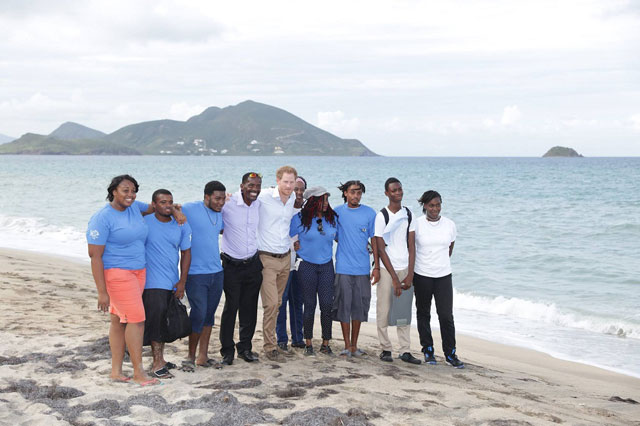 Prince Harry with Nevis Turtle Group