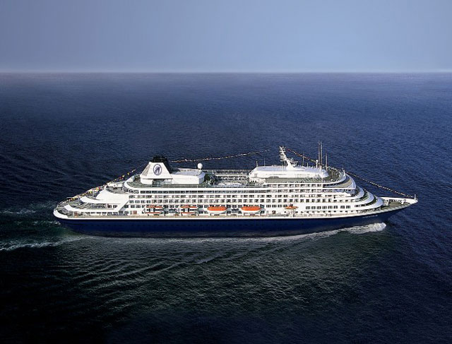 Holland American Line's Prinsendam at sea, scheduled to call on Nevis November 23, 2016