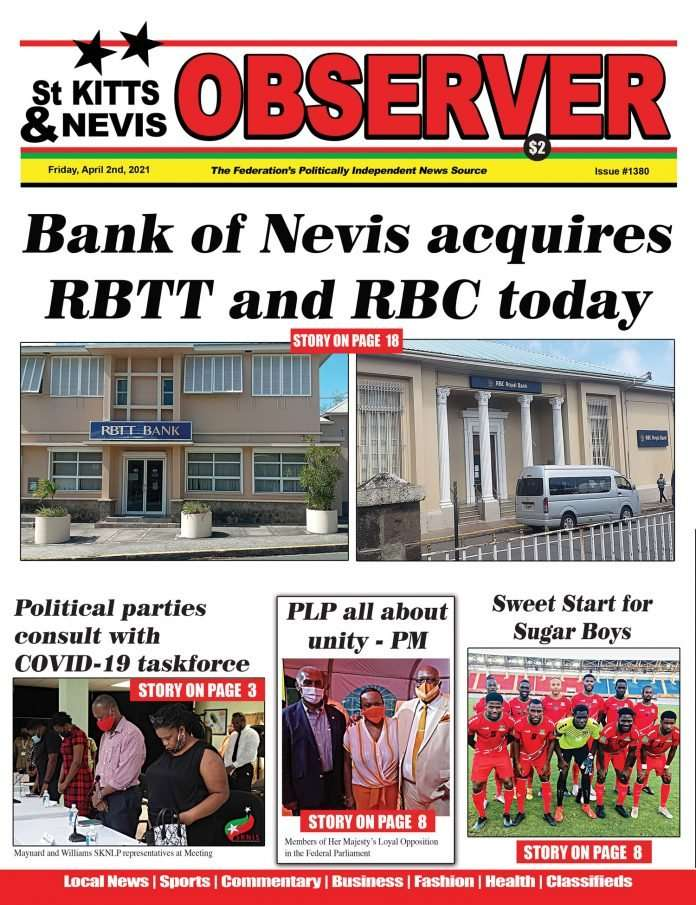 St Kitts and Nevis Observer Newspaper Cover April 1st, 2021