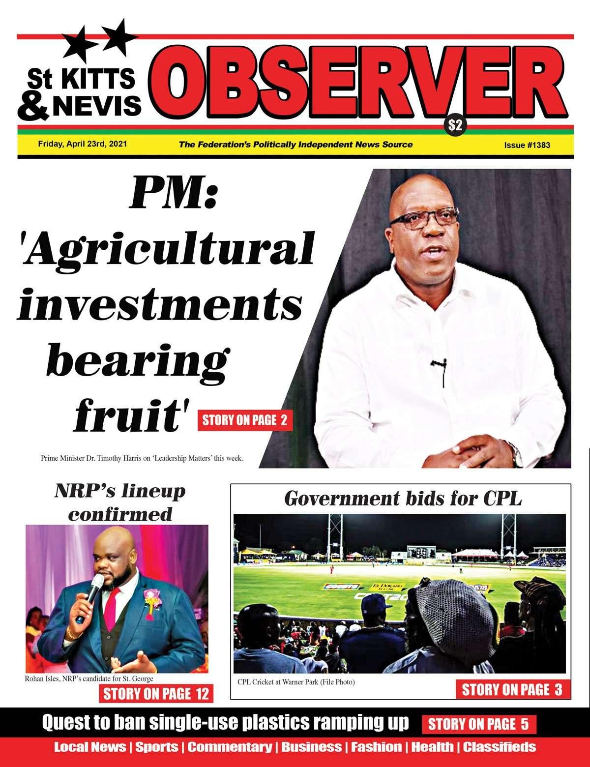 Observer Newspaper Cover for 23rd April, 2021