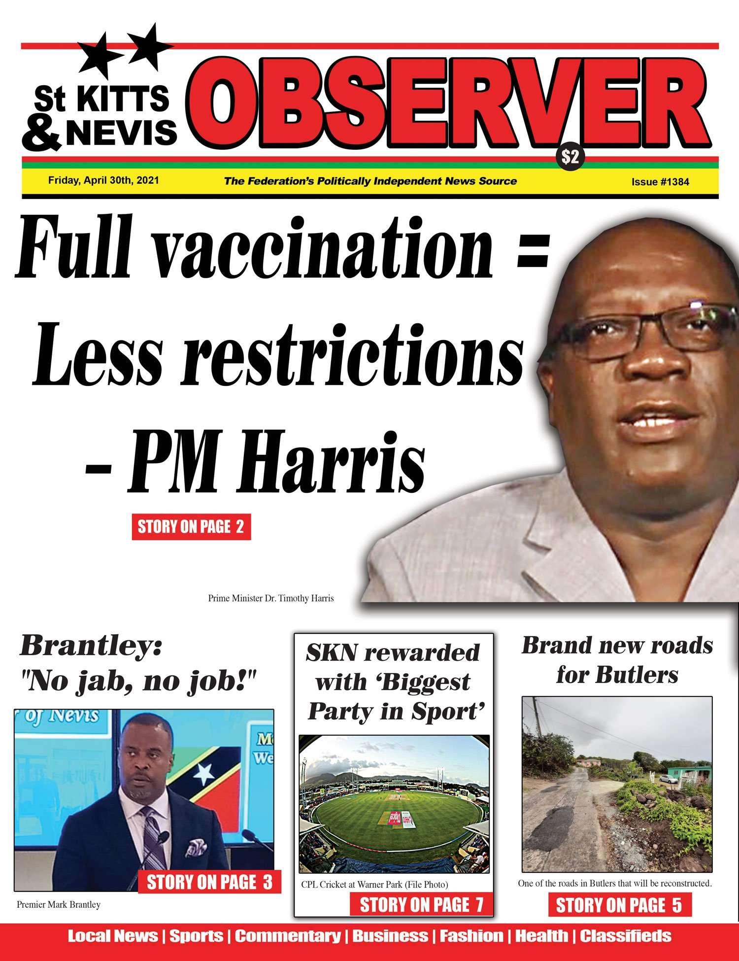 Observer Nespaper cover, april 30th, 2021