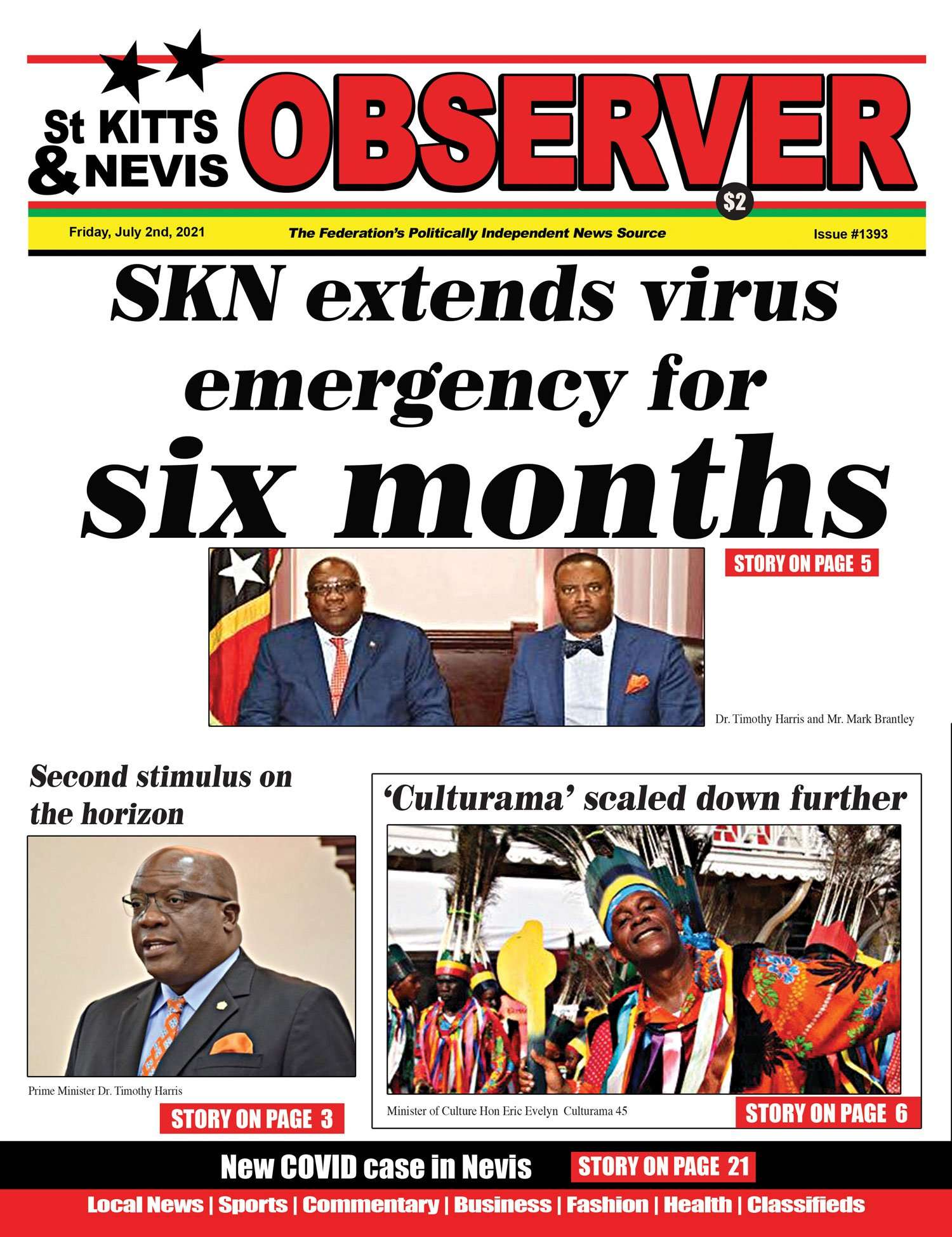 Newspaper Cover for 2nd July, 2021