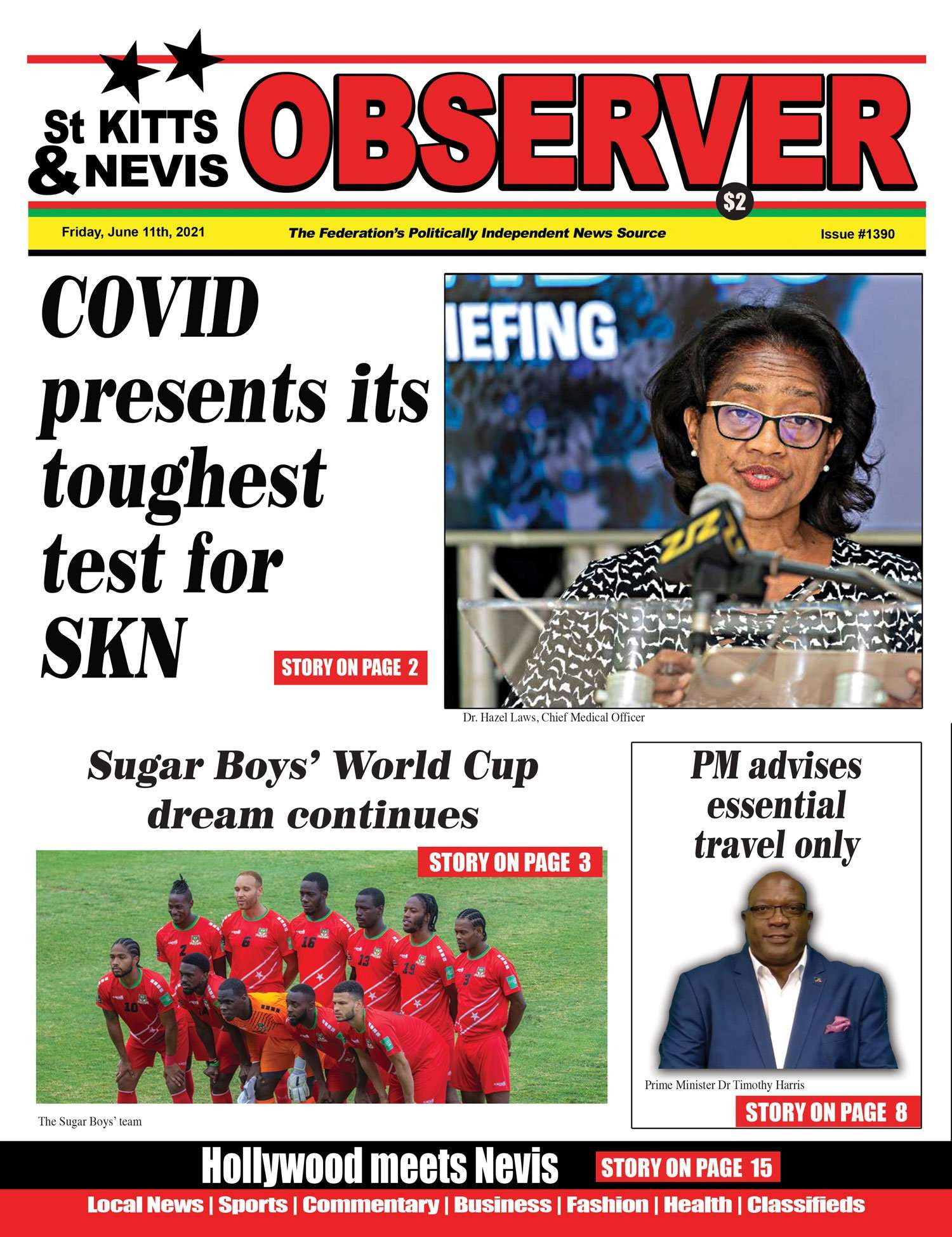 St Kitts Nevis Observer Newspaper Front page June, 11th, 2021