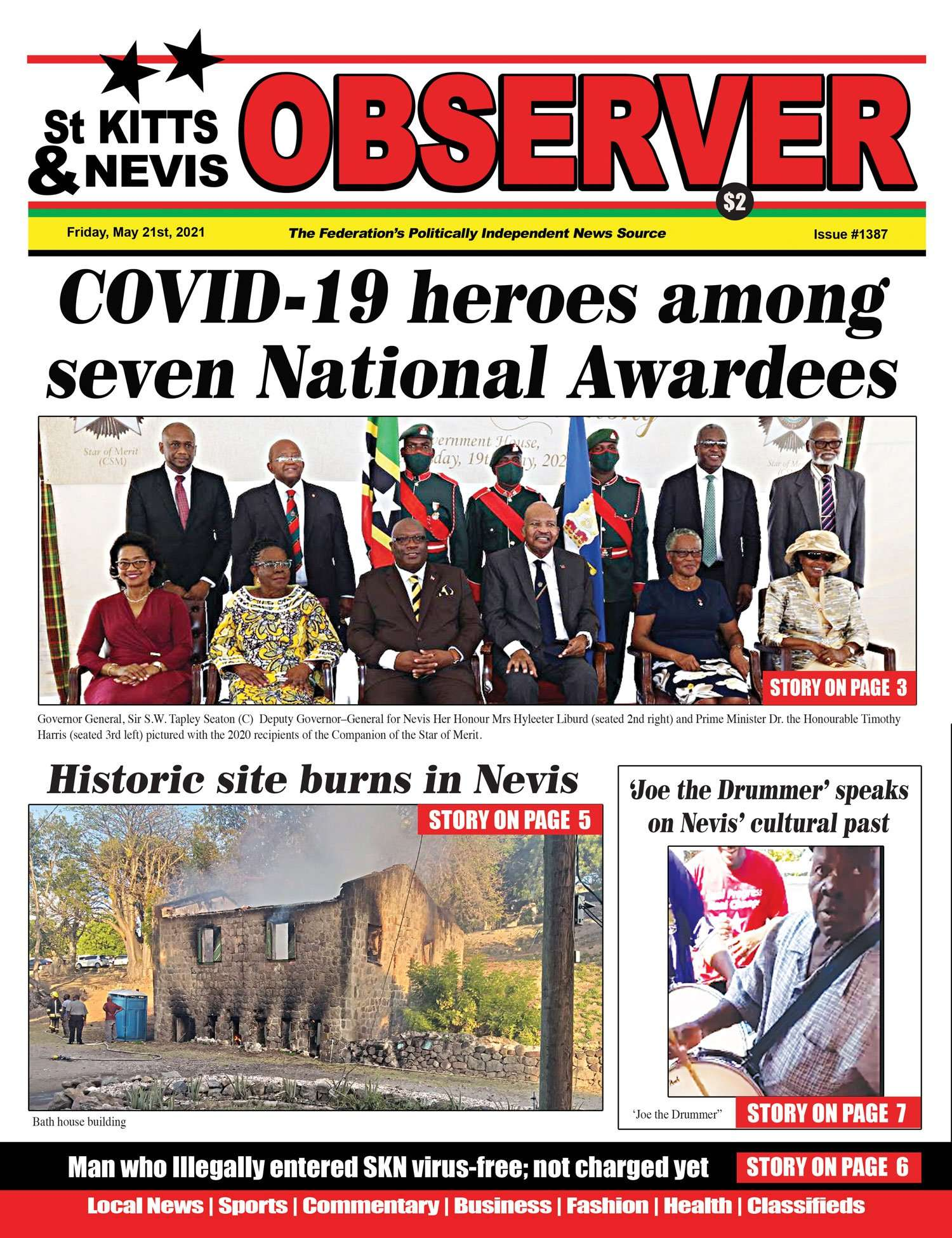 St Kitts an Nevis Observer Newspaper Cover for 21st May, 2021
