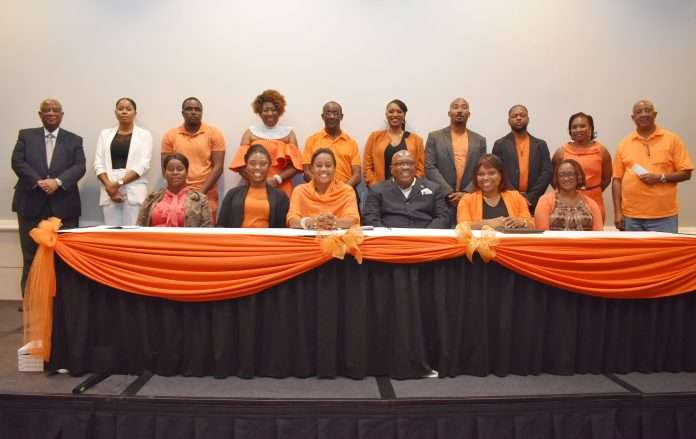National Political Leader Dr the Hon Timothy Harris pictured with members of the Peoples Labour Party National Executive that was elected on Friday March 26 at the private session of the party's National Convention 2021.