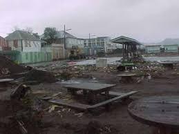 Shot of downtown basseterre following recent hurricane